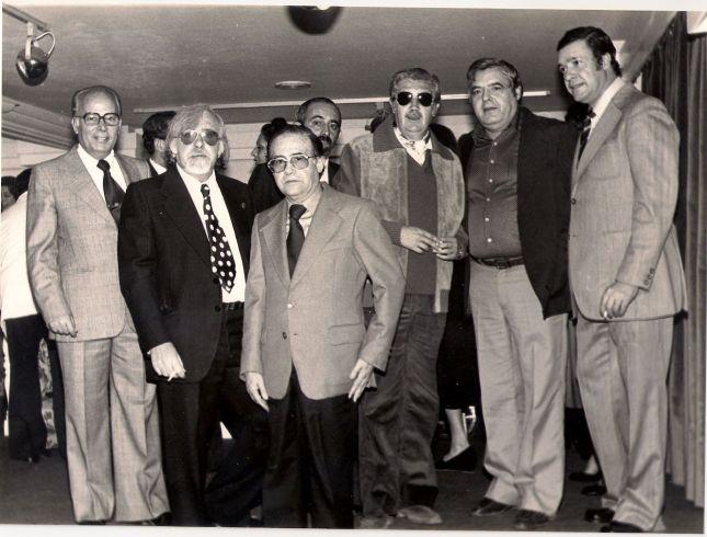 Exposición de Virgilio Galán en la galería Malacke 2 de nov 1979 de izq. a derecha Gonzalo Fausto, Virgilio Galán, Antonio Segovia, Manuel Alcántara, Paco Hernández y Francisco Díaz.